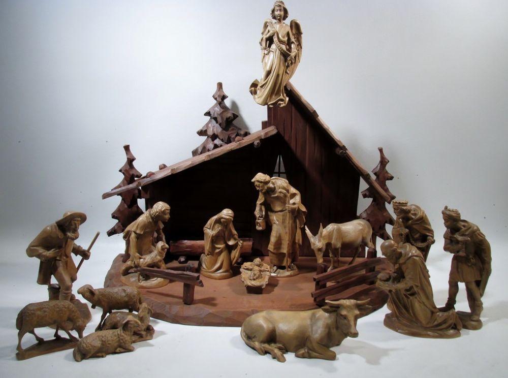 Vtg German Oberammergau Black Forest Hand Carved Wood Creche