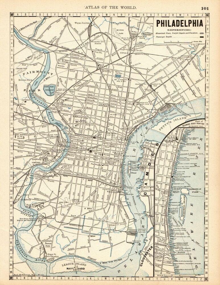 1889 Antique PHILADELPHIA City Map or MANHATTAN Map New York ...