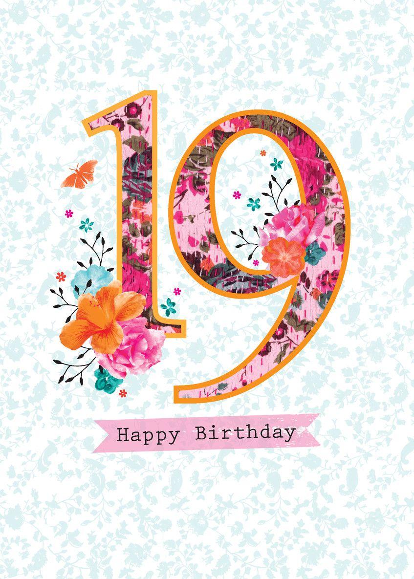 19th birthday card happy 19th birthday happy birthday