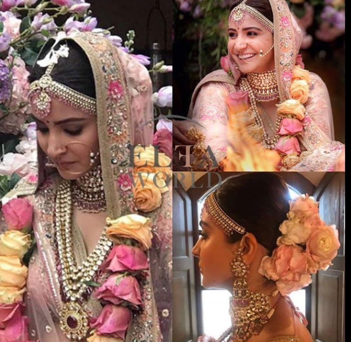 Anushka Sharma S Bridal Bun Is Giving Us Hair Goals Bridal Bun Bridal Hairdo Bridal Hair Buns