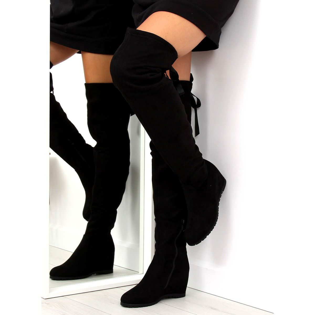 Muszkieterki Na Koturnie Czarne 168 139 Black Over Knee Boot Boots Knee Boots