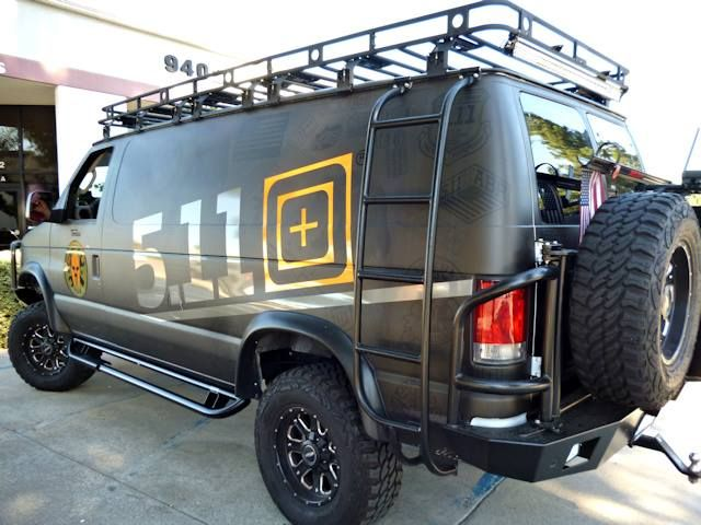 Aluminum Off Road Rear Bumper, Ladder, and Nerf Bars on a Ford Econoline van from 5.11 Tactical.