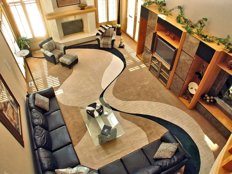 Look at the stunning carpet that runs through the living room