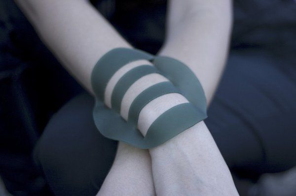 hegedus-style:  Organic Bracelet made out Vegetable Leather (Latex). Designer Flavia Amadeu.  Latex can be used as a substitute for the animal leather and other oil derived substances utilized in the shoes and accessories production. In Brazil, there are many sustainable practices related to the Latex extraction. (Image from Flavia Amadeu)