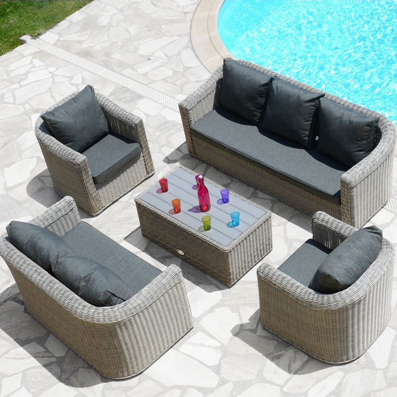 Salon de jardin Giglio Gris/Gris anthracite - 7 places | Salon ...