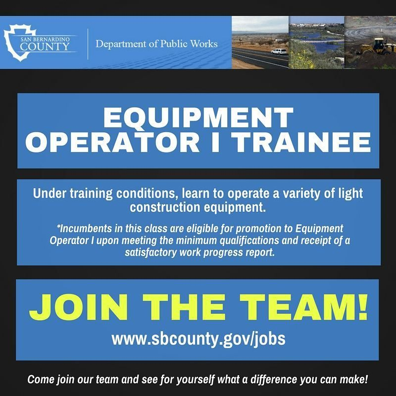 Public Works Is Now Hiring For Equipment Operator I Trainee Apply