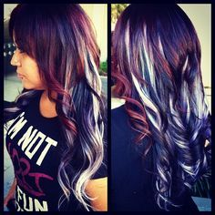 Black Hair With Red And White Highlights Google Search Hair Styles Hair Dyed Hair