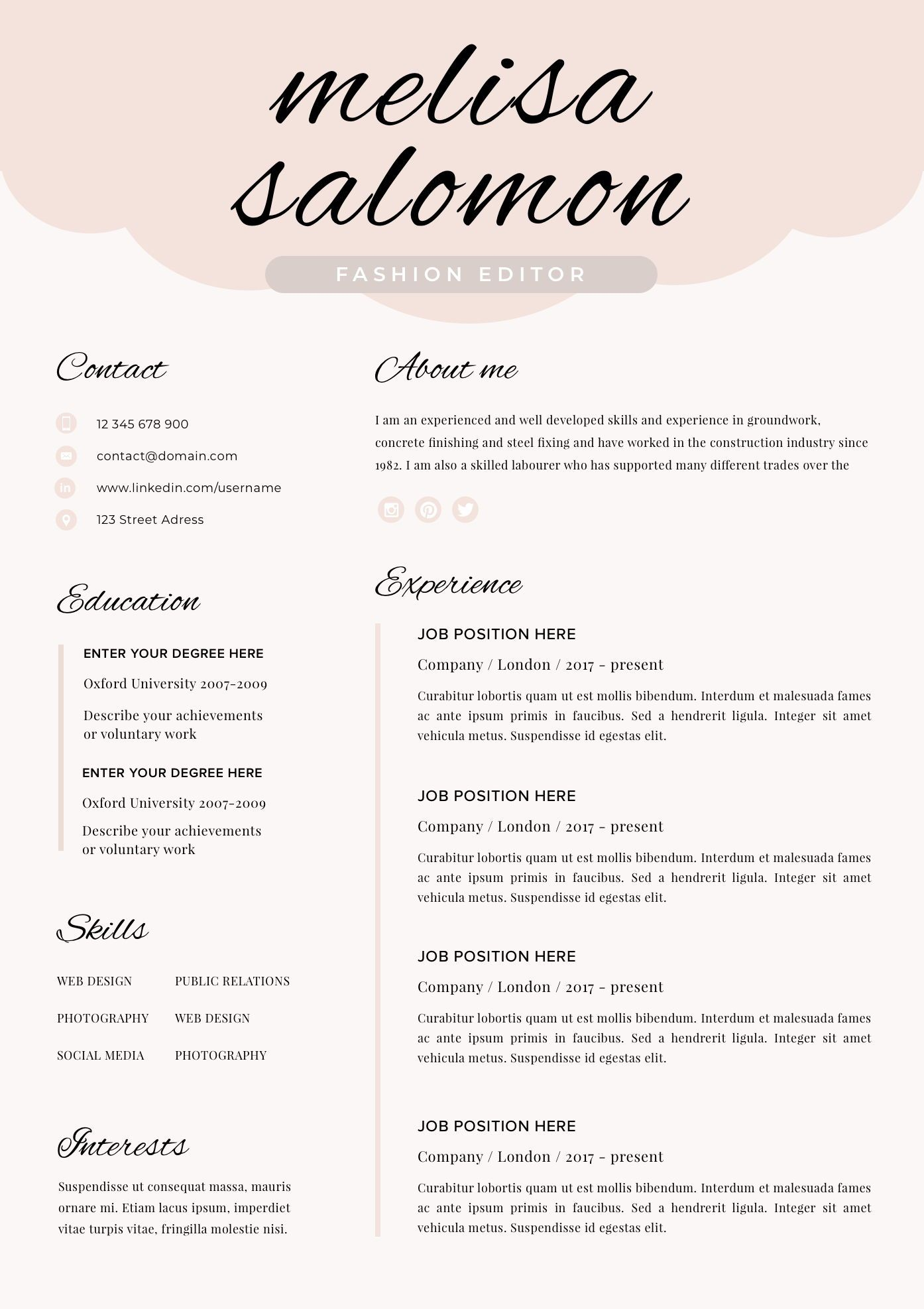 Creative Resume Template For Word And Pages Instant Download Etsy Creative Cv Template Creative Resume Templates Cv Template