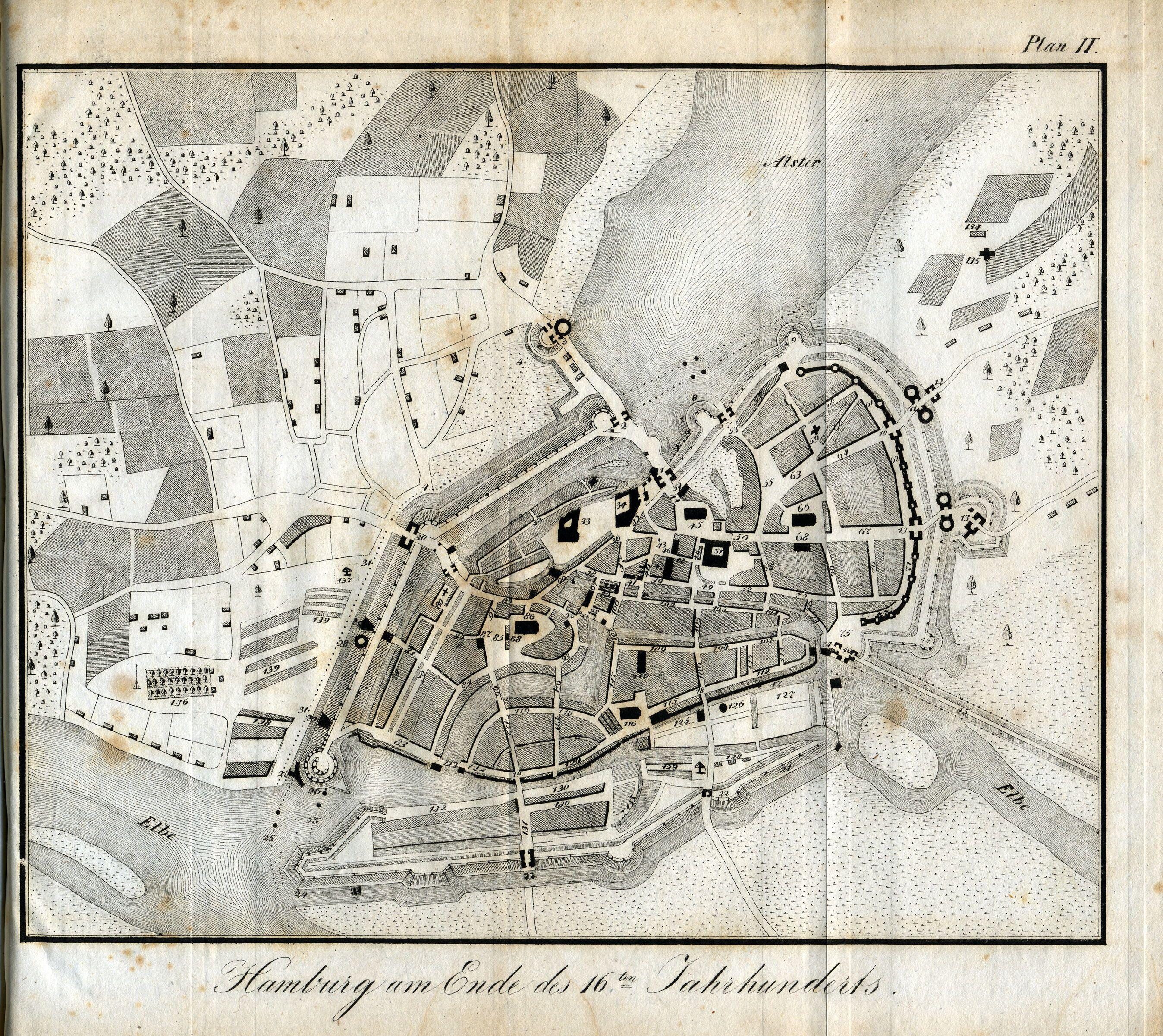 Der Stadt Hamburg karte hamburg um 1600 aus f h neddermeyer topographie der