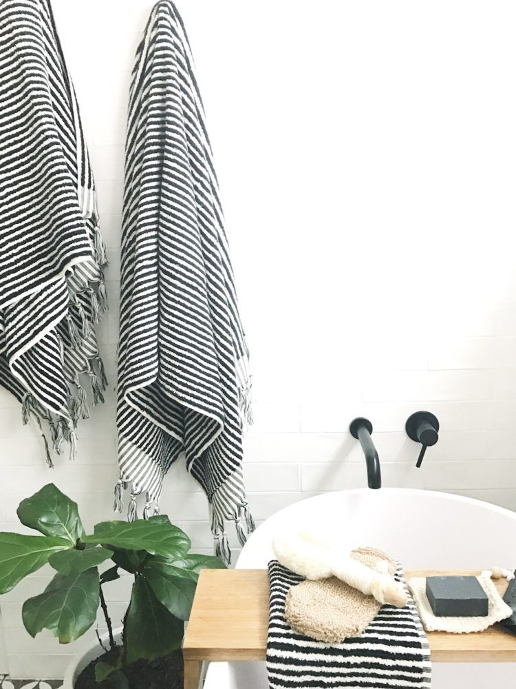 Gina S Home Black And White Bathroom Reveal Style Curator White Bathroom Black And White Towels White Towels Bathroom