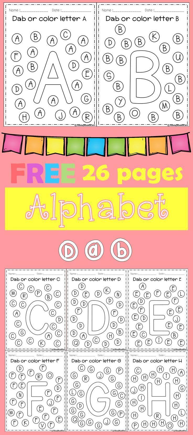 FREE Alphabet Dab (A-Z)   Kindergarten Phonics and P.A.   Pinterest ...