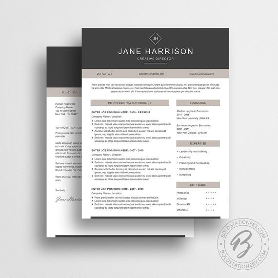 Resume Template With Matching Cover Letter  Best Of Etsy