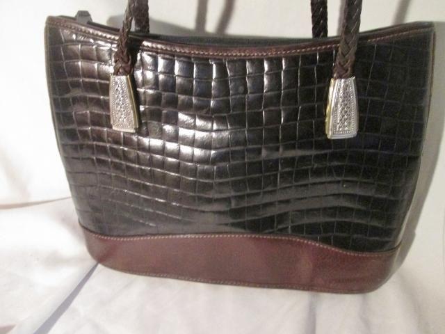 BRIGHTON Pebbled Croc Leather Shoulder Bag Tote Purse Satchel BLACK BROWN