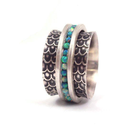 Opal Spinner Ring by danaevansstudio on Etsy