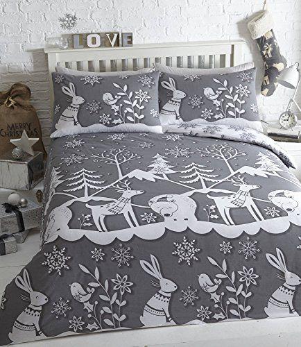 Mountain Snow Christmas Duvet Cover and 2 Pillowcase Set, Grey