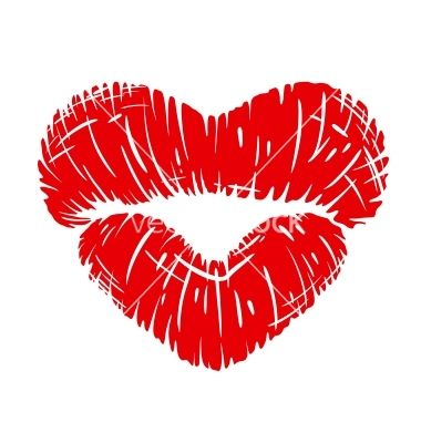 Red Lips Print In Heart Shape Vector Lip Logo Red Lips Tattoo
