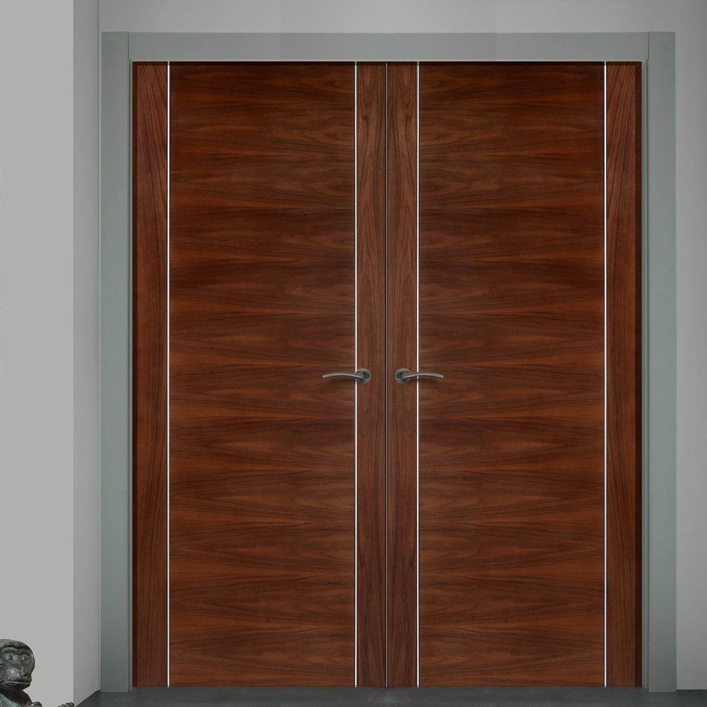 Bespoke alcaraz walnut flush door pair prefinished flush