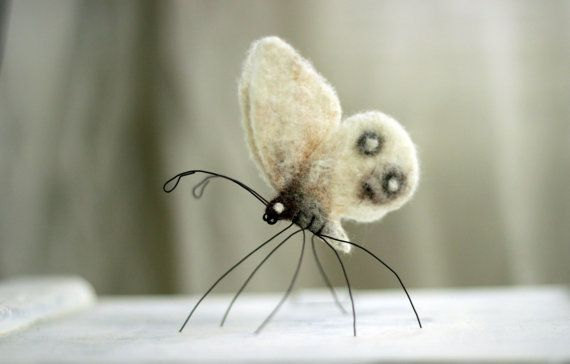 Needle Felted Butterfly - Needle Felt Animals - Summer Home Decor - Needle Felt White Butterfly - Handmade - White Boho - Wool - Art Doll #dollcare