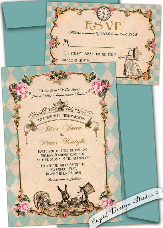 Alice in Wonderland Wedding invitation. Mad hatter tea party   Etsy