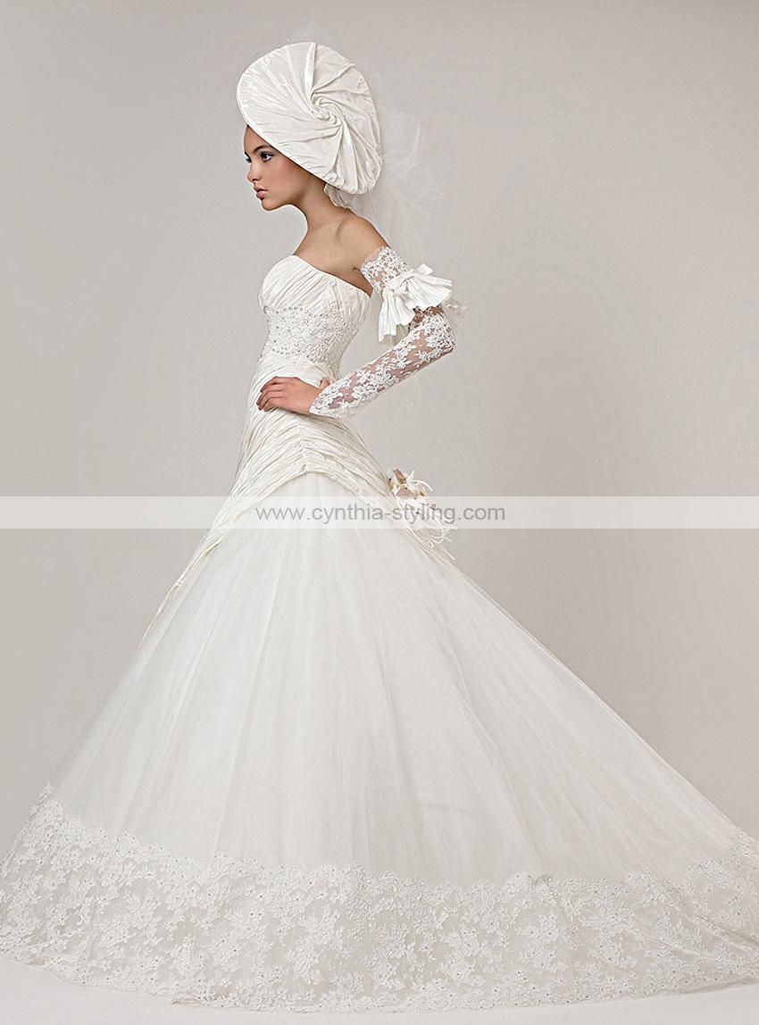 2-layers taffeta tulle lace A-line pleated wedding dress bridal gown chapel train 101008_ - Cynthia Prom Gown Online Shop
