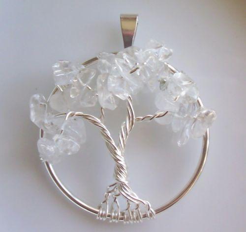Handmade Tree of Life Pendant Quartz Crystal Wire Wrap Silver Gemstone April | eBay