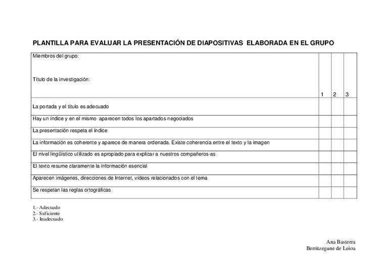 Plantilla para evaluar la presentación de diapositivas. A la derecha ...