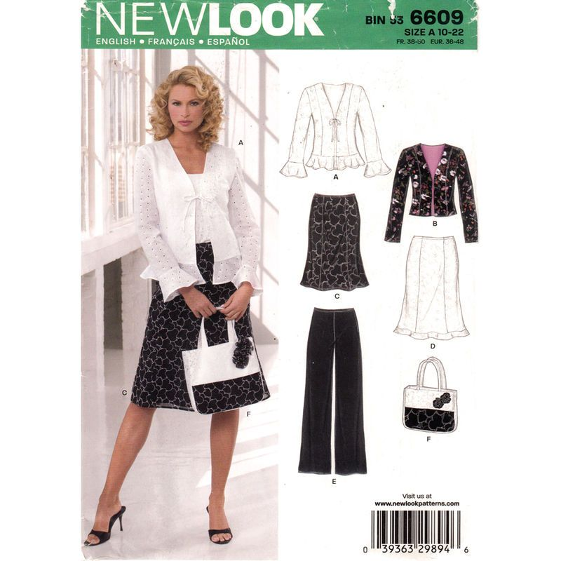Womens Feminine Suit Pattern New Look 6609 Ruffle Jacket Skirt Pants ...