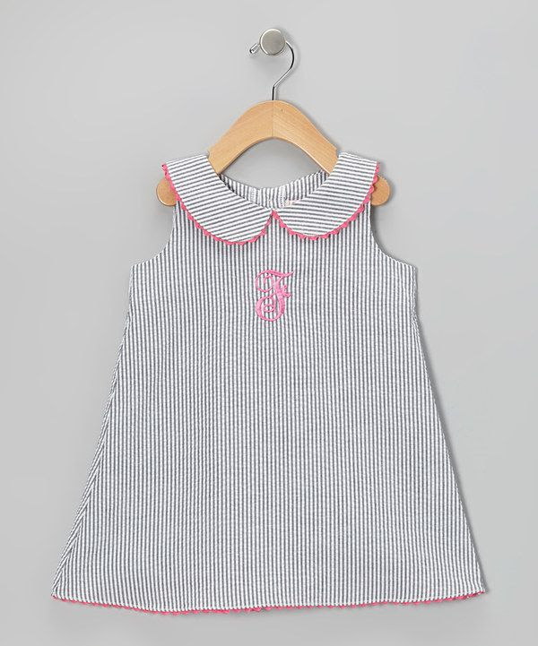 This Steel Gray Stripe Initial A-Line Dress - Infant, Toddler & Girls by Emily Lacey is perfect! #zulilyfinds