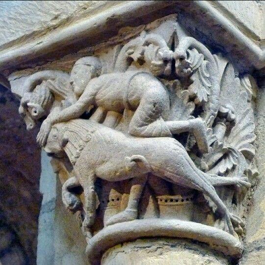 Sansón y el león. Siglo XII. Anzy-le-duc