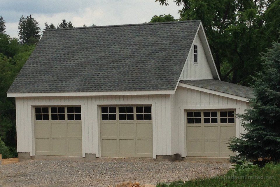 E100 15124 24x26 two car garage with lean to in far for Garage roofing options