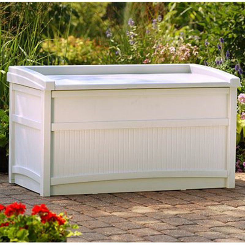 Outdoor Suncast DB5500 41 In. Deck 50 Gallon Box With Seat   DB5500