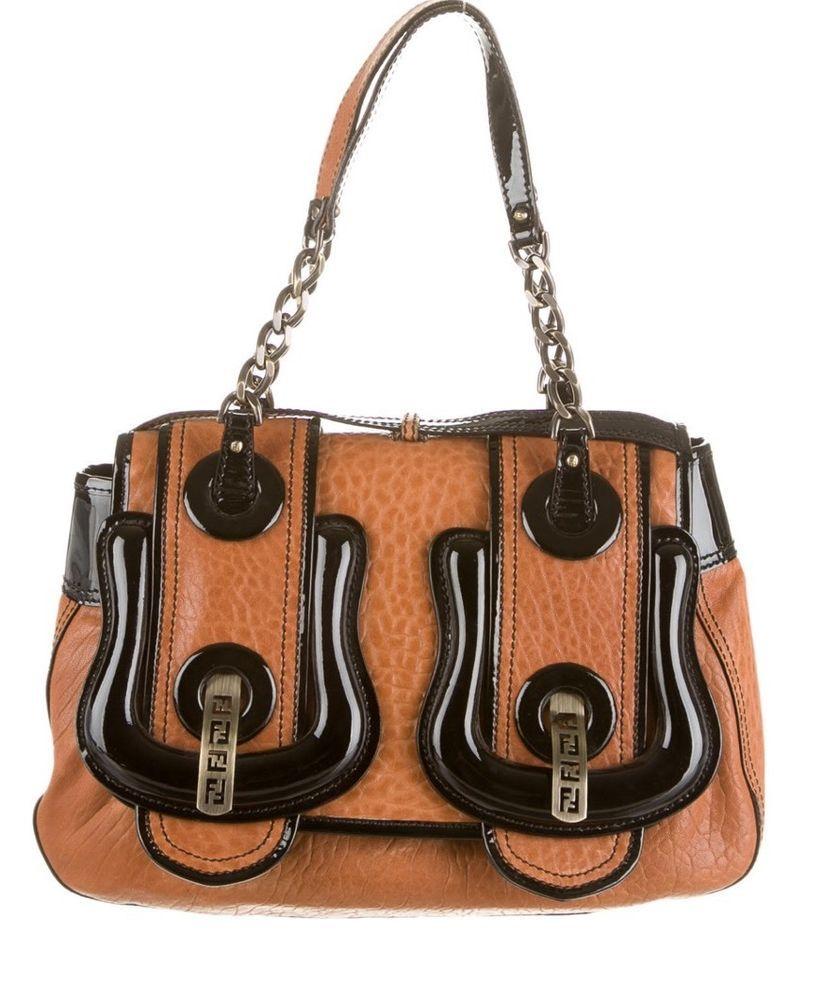 Fendi Black Canvas And Patent Leather B Shoulder Bag x8ApBLBCm5