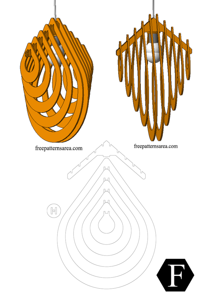Drop Chandelier Light Free Dxf File for Laser Cutting | wood