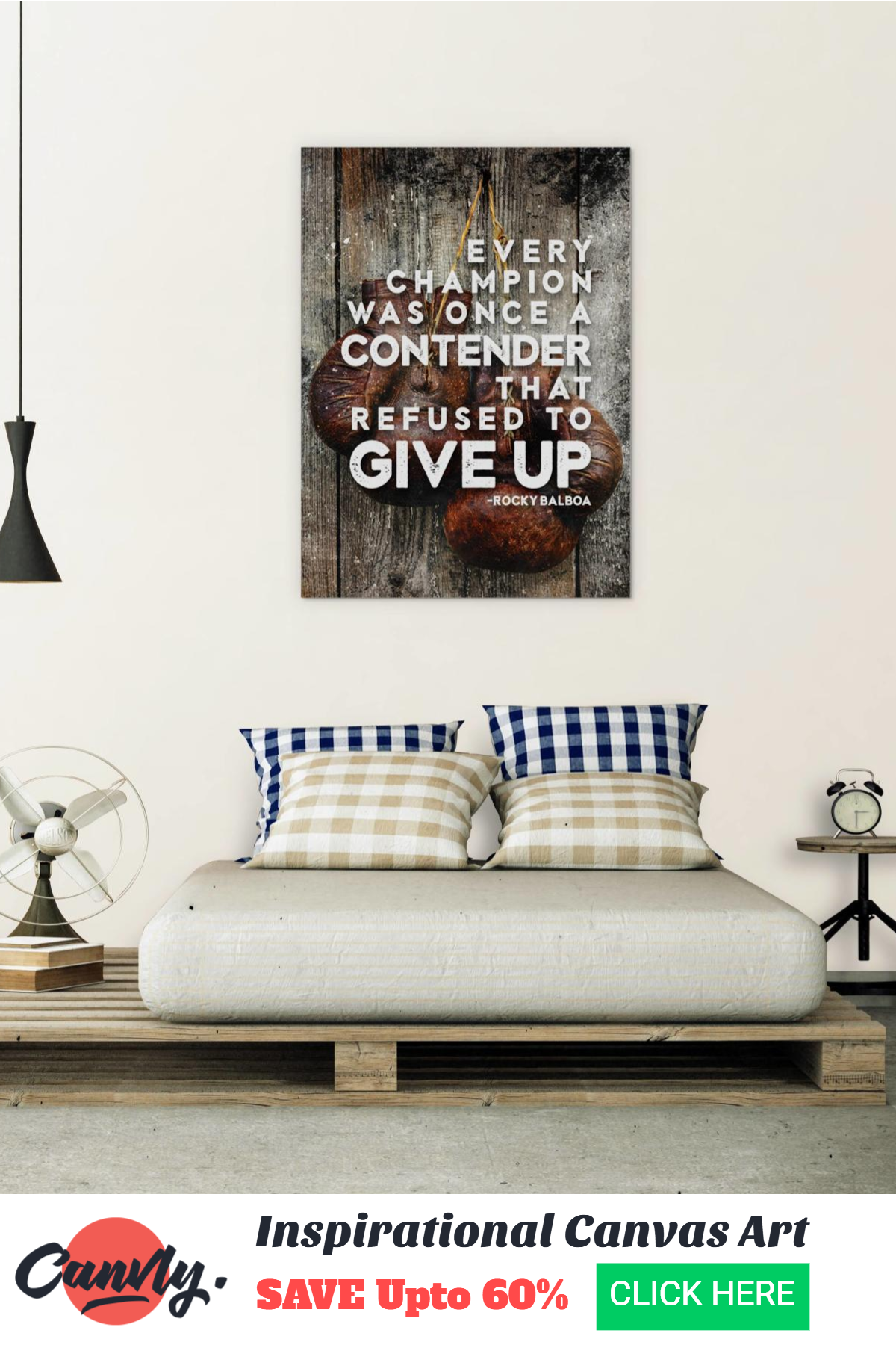 8b3c1d789b38 EVERY CHAMPION WAS ONCE A CONTENDER - Fitness Inspirational Canvas ...