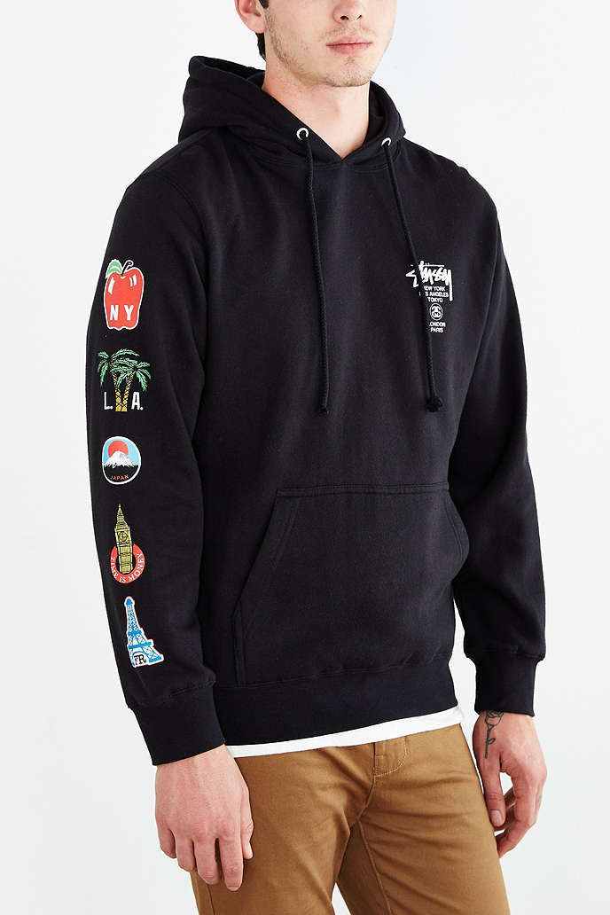 181fe2e9c5ac Stussy World Tour Flags Pullover Hooded Sweatshirt - Urban Outfitters