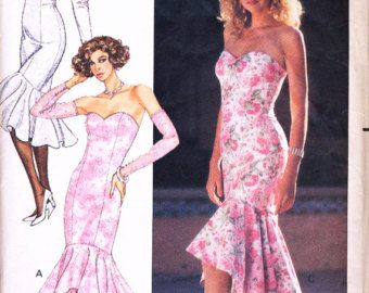 80s Prom Dress Sewing Pattern Sweetheart Neckline by HoneymoonBus