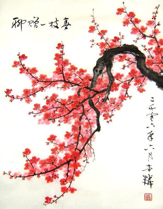 Asian Theme Cherry Blossom Painting Chinese New Year Decorations Art Chinois