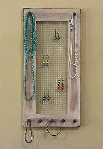 Necklace Holder Hanging Earring Holder Wood Frame Jewelry Organizer Shabby Chic Earring Organizer Hand Painted IRIS Design
