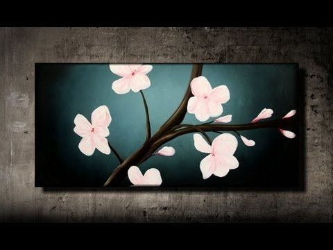 How To Paint Cherry Blossoms Step By Step Youtube Cherry Blossom Painting Flower Painting Painting