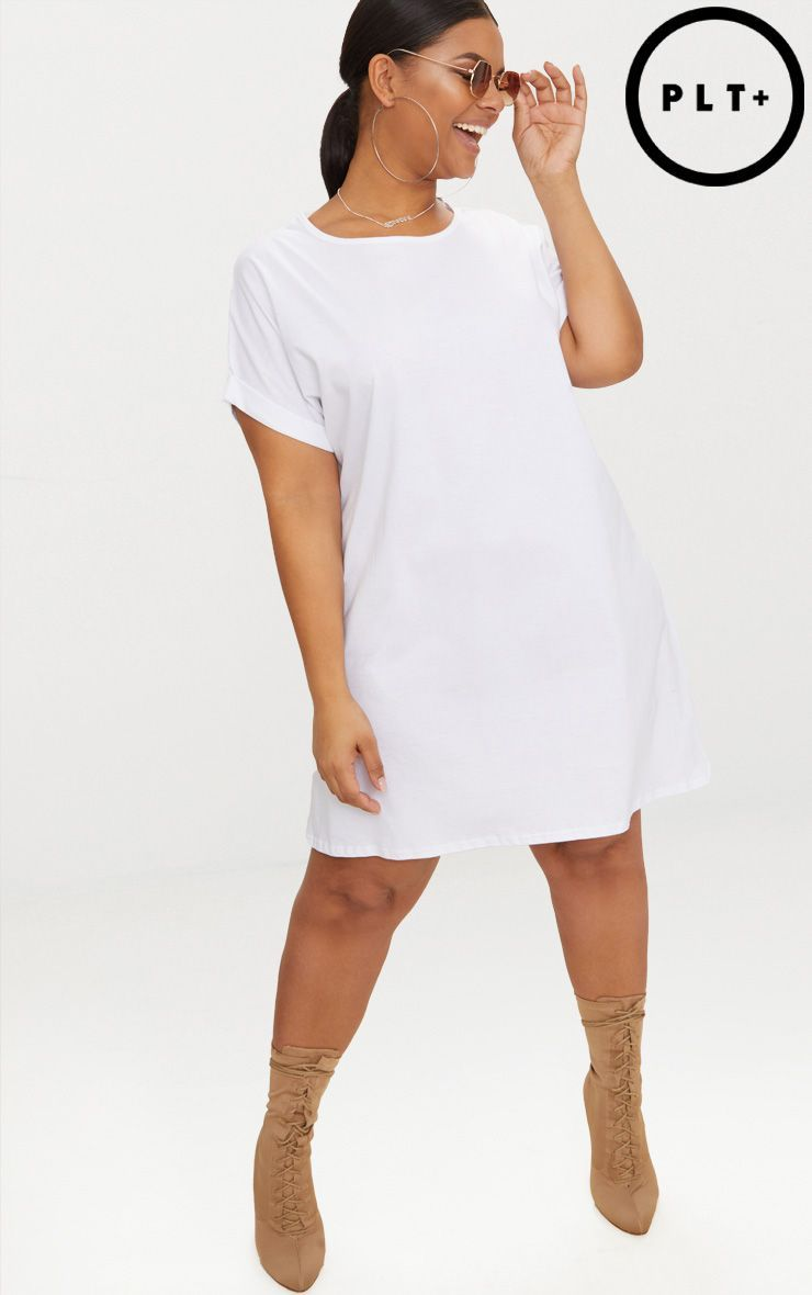Plus White Oversized Roll Sleeve T-Shirt Dress in 2019 | How ...