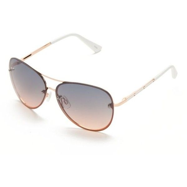 06eb661033 Tahari Rose Gold White Rimless Glam Ombre Metal Aviator Sunglasses ( 28) ❤  liked on Polyvore featuring accessories