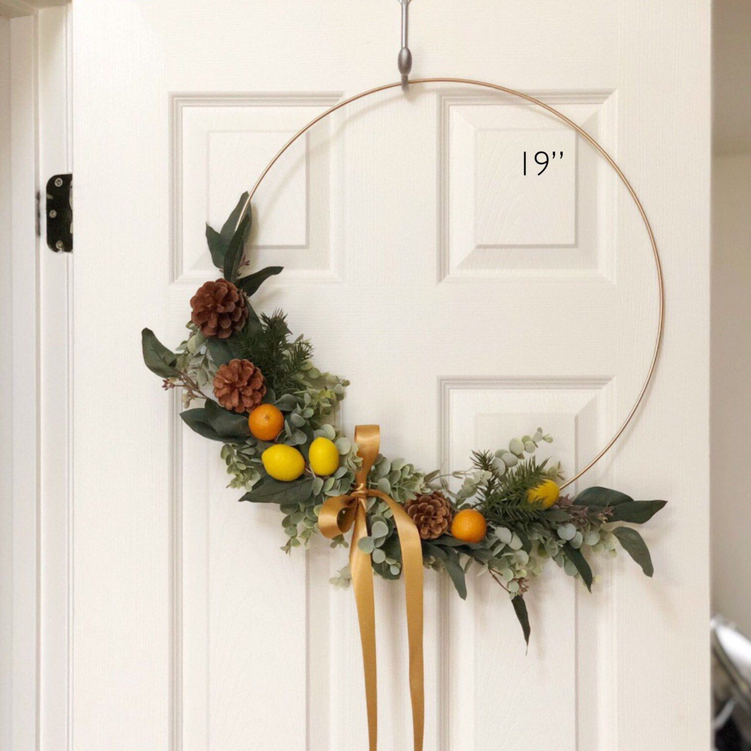 """Photo of 19 """"Autumn modern tire wreath – large tire wreath with artificial citrus fruits – tire wreath, artificial eucalyptus wreath, modern wreath with lemons"""