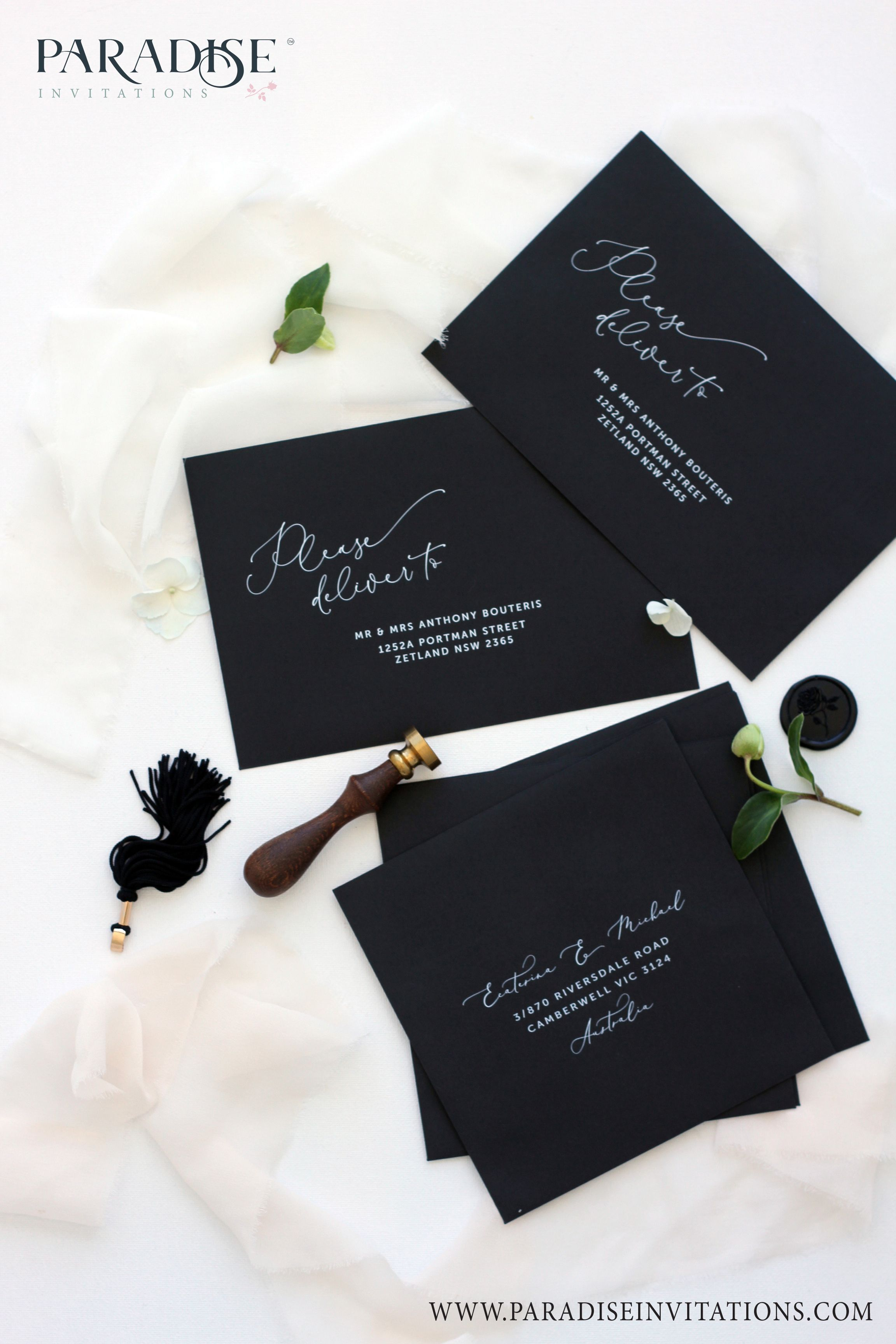 Elegant Black Envelopes Wedding