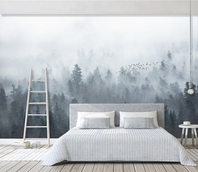 Self Adhesive Peel And Stick Misty Forest Wallpaper Removable Etsy Landscape Wallpaper Living Room Jungle Wall Mural Forest Wallpaper