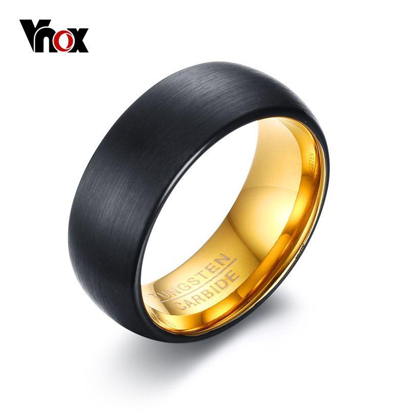 VNOX Nero Tungsteno Anelli per Gli Uomini Monili 8 MM Carburo di Tungsteno uomo Anello Wedding Bands