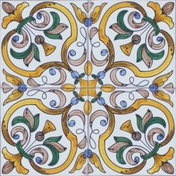 2419 Portuguese handmade majolica tile Luxurious Wall & Floor Ceramic Tile  Azulejo (Lambrim) Repetitive Patterns BAROQUE DESIGNS Tile size: x x / x ...