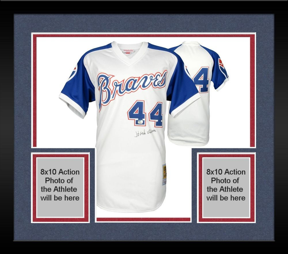 Framed Hank Aaron Braves Signed M N Authentic Jersey Fanatics Authentic Hank Aaron Braves Atlanta Braves Jersey
