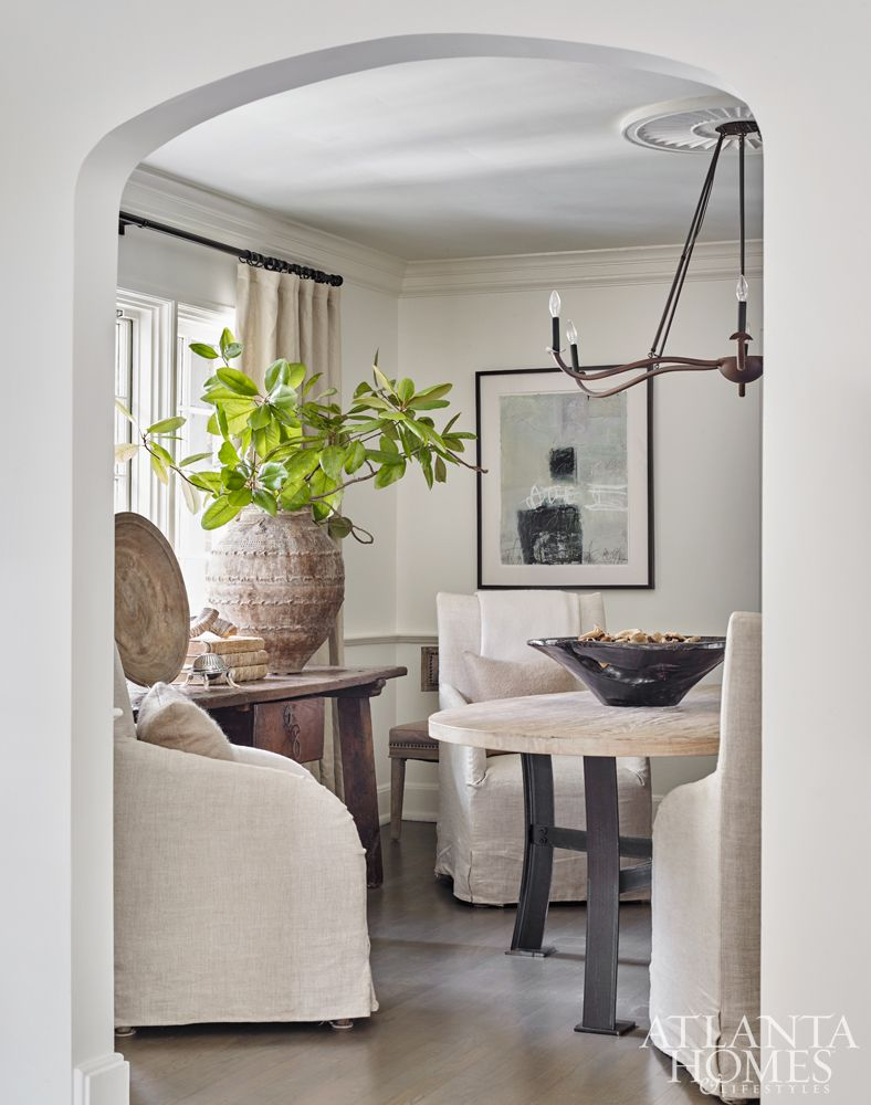 A recent renovation removed a wall between the dining and living