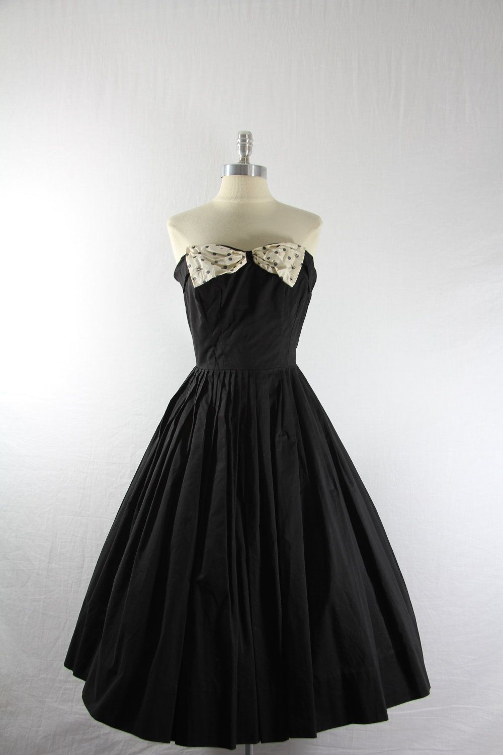 S strapless dress black cotton with large bust polka dot bow