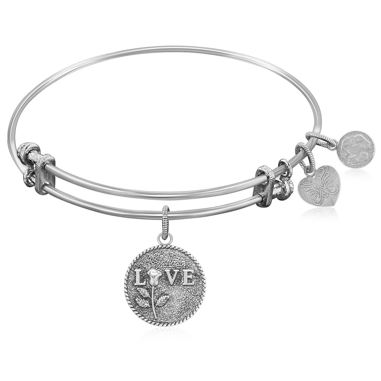 Expandable Bangle in White Tone Brass with Love Special